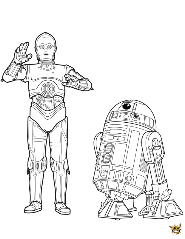 C3po et r2d2 est un coloriage de star wars - Coloriage star wars 3 ...