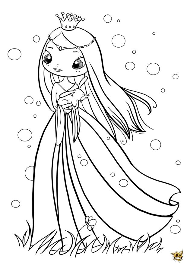 Princesse magique et le lapin est un coloriage de princesse - Coloriages princesses ...
