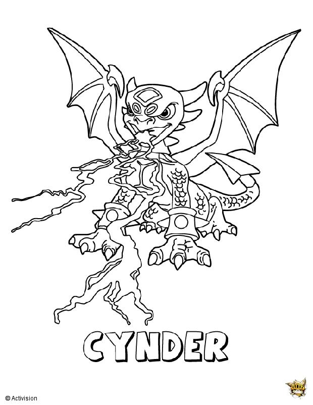 skylanders fryno coloring pages | Cynder crache est un coloriage de Skylanders