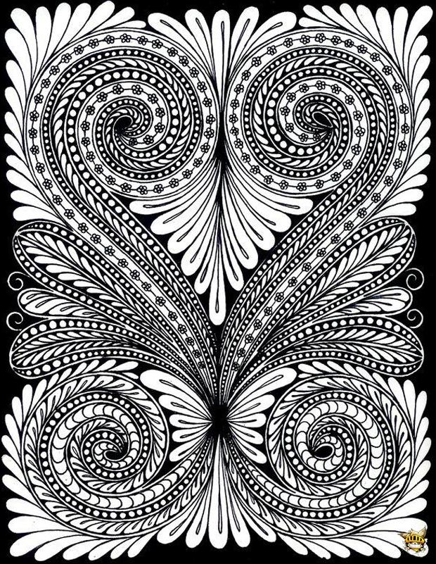 Coloriage feuilles effet optique pour adultes - Coloriage zen a imprimer ...