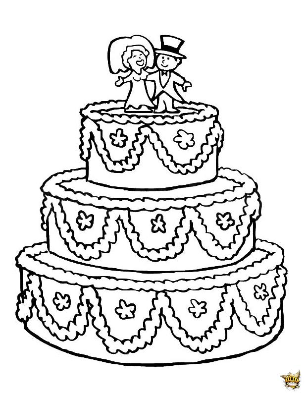 Un g teau de mariage colorier et imprimer - Coloriage de gateau ...