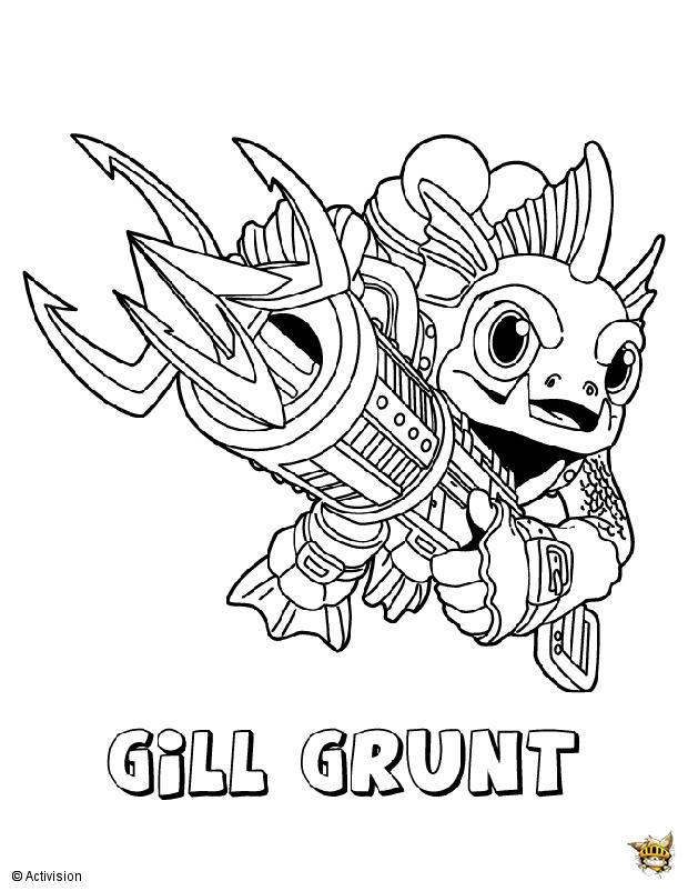 Gill grunt hero est un coloriage de skylanders - Jeux gratuit skylanders ...