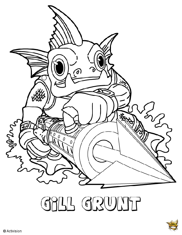 gill grunt coloring pages - pin download coloriage skylanders wind on pinterest