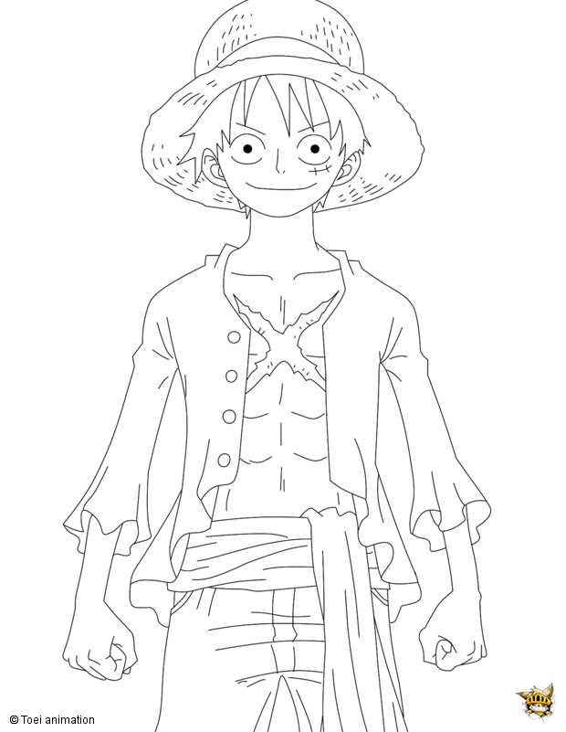 Luffy en position est un coloriage de one piece - Coloriage one peace ...