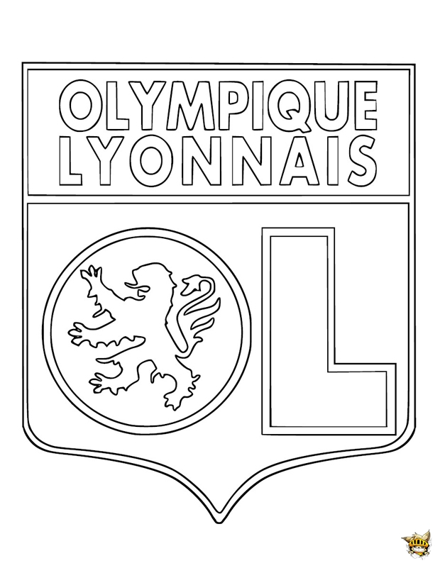 coloriage olympique de lyon cusson de l 39 quipe imprimer. Black Bedroom Furniture Sets. Home Design Ideas