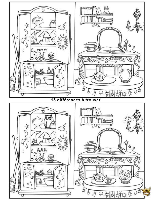 maison de sorci re est un jeu imprimer des diff rences. Black Bedroom Furniture Sets. Home Design Ideas