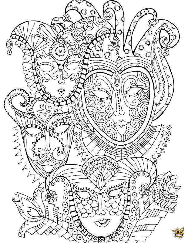 Coloriage masques carnaval pour adultes - Coloriage masques ...