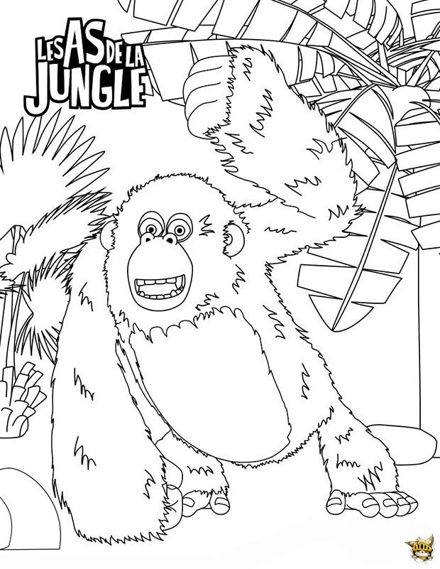 Miguel le gorille est un coloriage des as de la jungle - Gorille coloriage ...