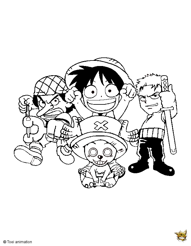 Mini one piece est un coloriage de one piece - Dessin a colorier one piece ...