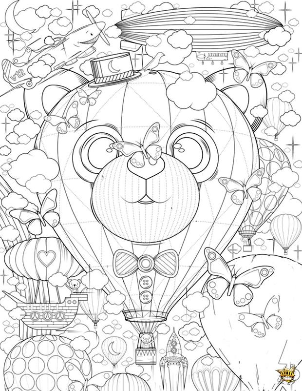 Montgolfière zen est un coloriage pour adultes à imprimer