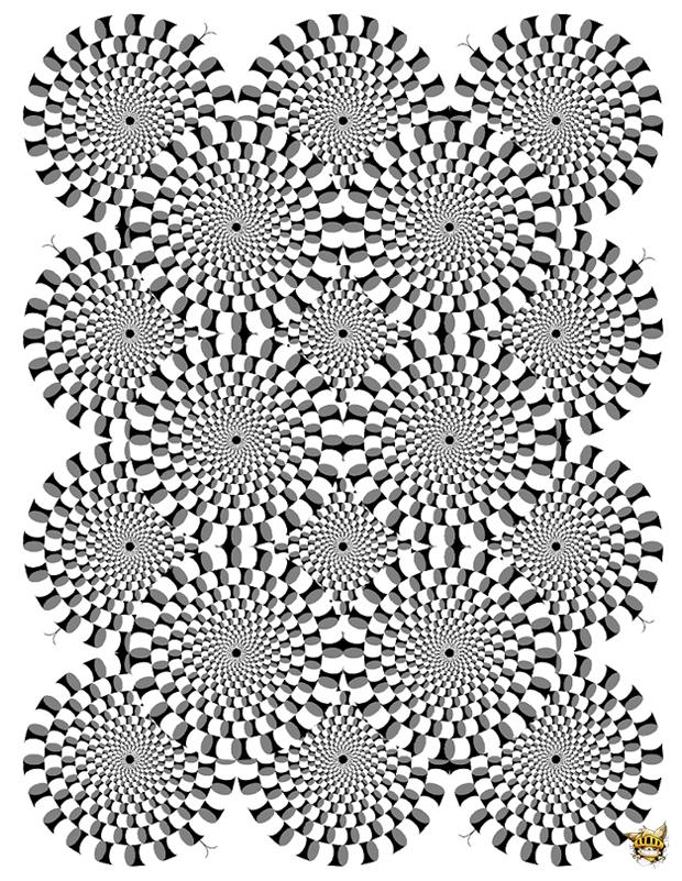 Optique illusion 2 est un coloriage pour adultes imprimer - Mini coloriage illusion d optique ...