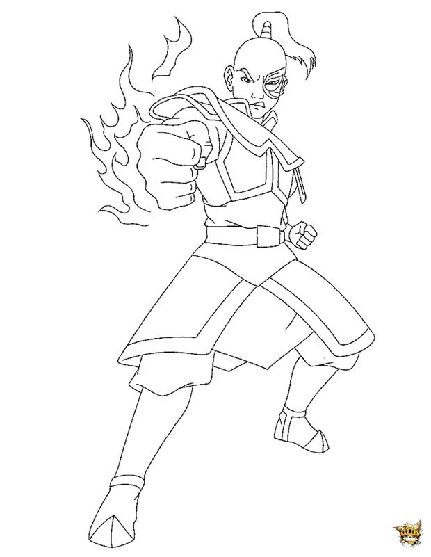 Prince Zuko est un coloriage du dernier maitre de l'air