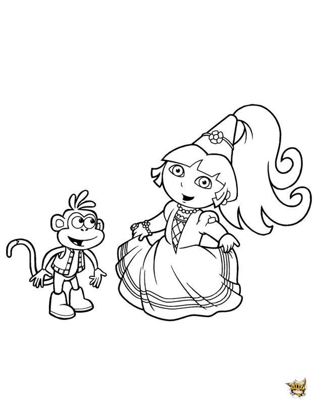 Princesse dora et babouche est un coloriage de dora l - Dessin de dora et babouche ...