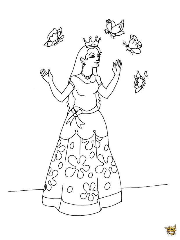 Princesse papillon est un coloriage de princesse - Jeux de coloriage de papillon ...