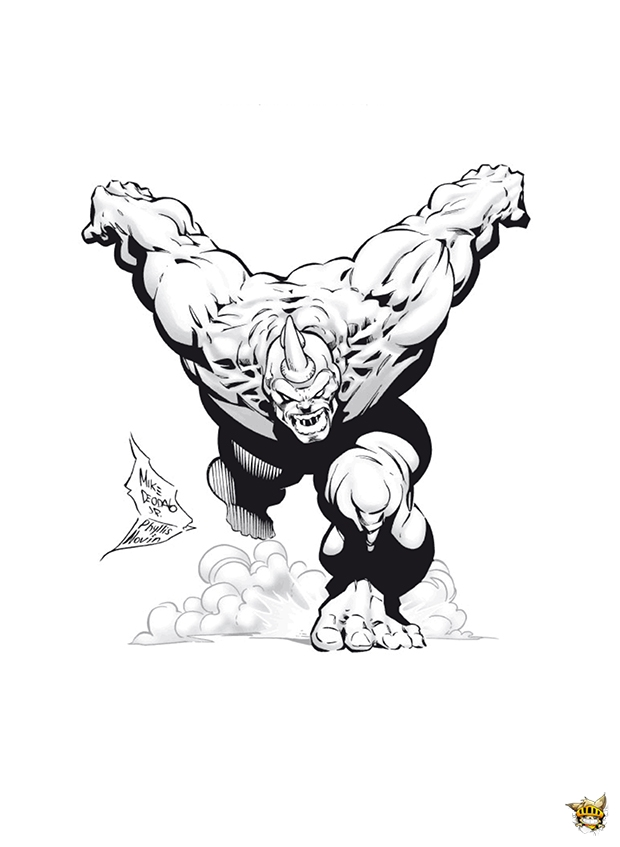Rhino attaque est un coloriage de spiderman - Coloriage personnage spiderman ...