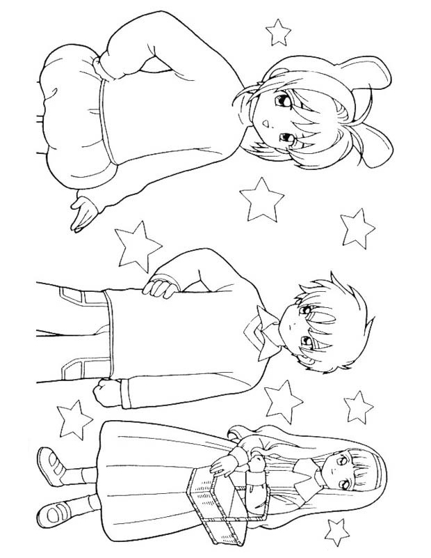 sakura et sa bande est un coloriage de sakura chasseuse de