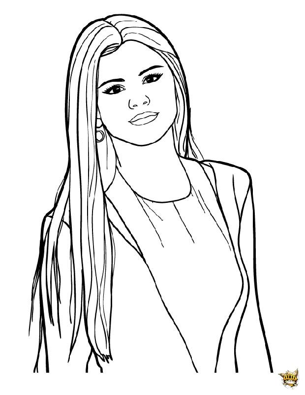 Selena cheveux long est un coloriage de star
