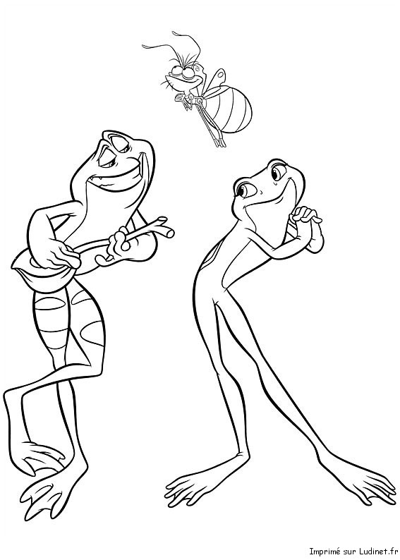 Tiana et naveen est un coloriage de la princesse et la grenouille - Coloriage la princesse et la grenouille ...