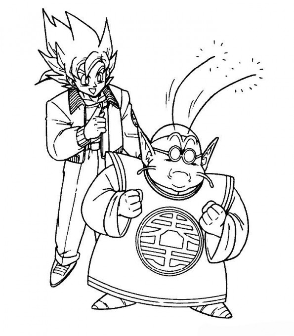 Sangoku et maitre kaio - Coloriage dragon ball z sangoku ...