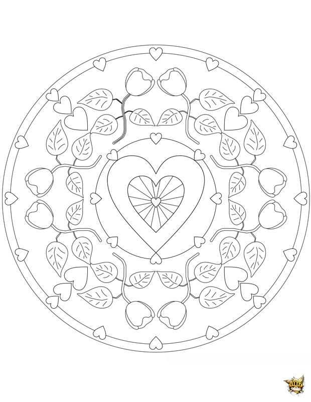 Coloriage amour fleurit mandala sur - Mandala amour ...