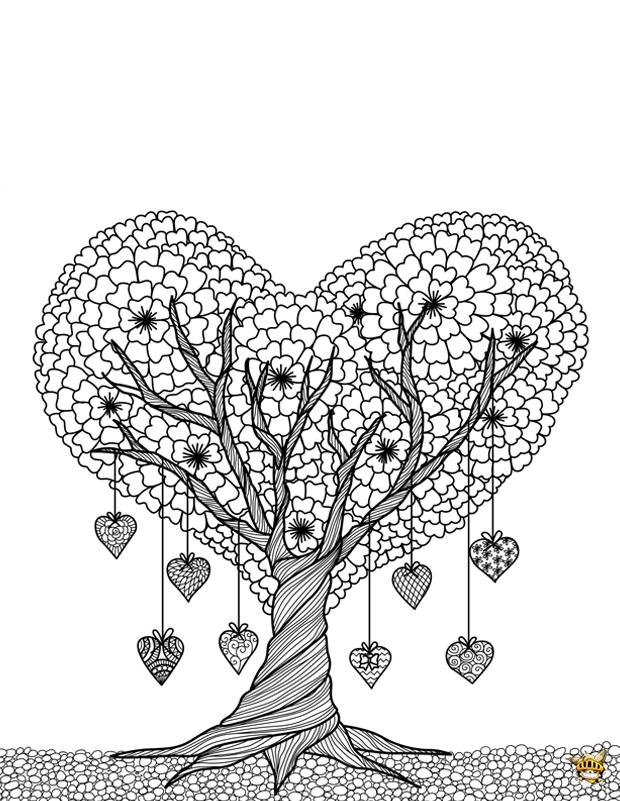 Coloriage Adulte Vegetation.Coloriage Arbre Coeur Pour Adultes