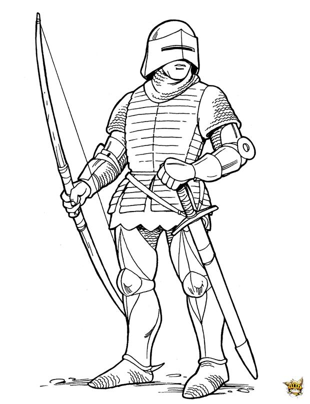 Archer est un coloriage de chevalier - Dessin moyen age ...