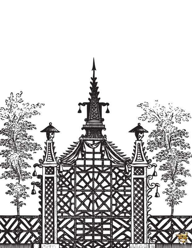 Coloriage architecture chinoise pour adultes for Architecture chinoise