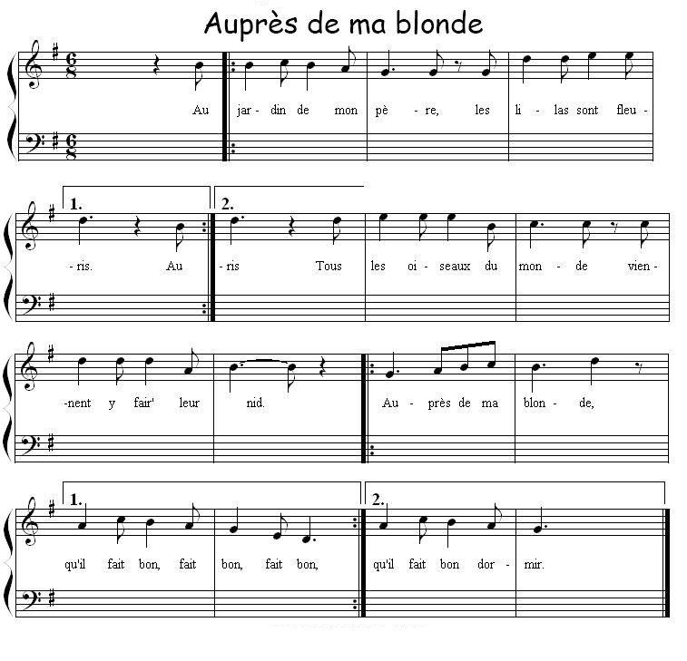 Aupr s de ma blonde texte et paroles for Au jardin de mon pere