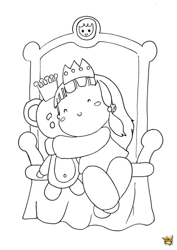 Coloriage Bebe Nounours.Bebe Princesse Et Nounours Est Un Coloriage De Princesse
