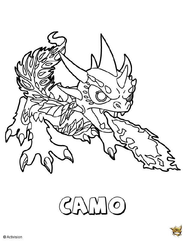 Camo feu est un coloriage de skylanders for Camo coloring pages