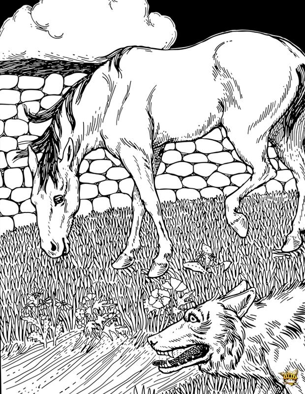 Coloriage Cheval Zen.Coloriage Cheval Et Loup Pour Adultes