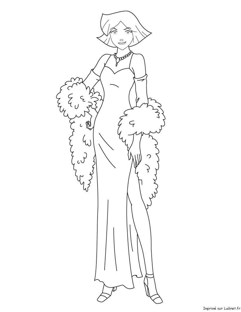 Clover en robe est un coloriage des totally spies - Comment dessiner les totally spies ...