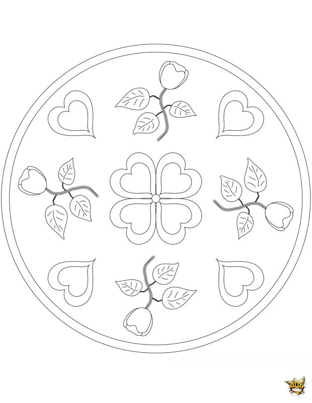 Coloriage Coeur Fleurs Mandala Sur Ludinet Fr