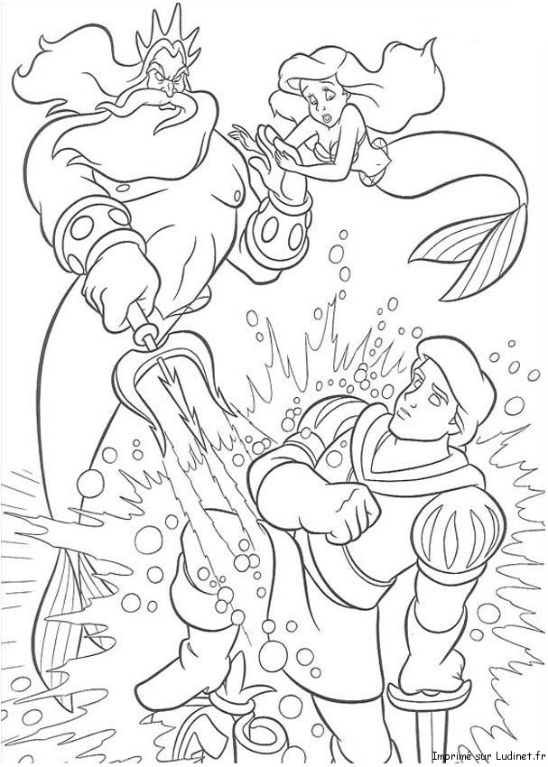 La colère de Triton est un coloriage de la petite sirène