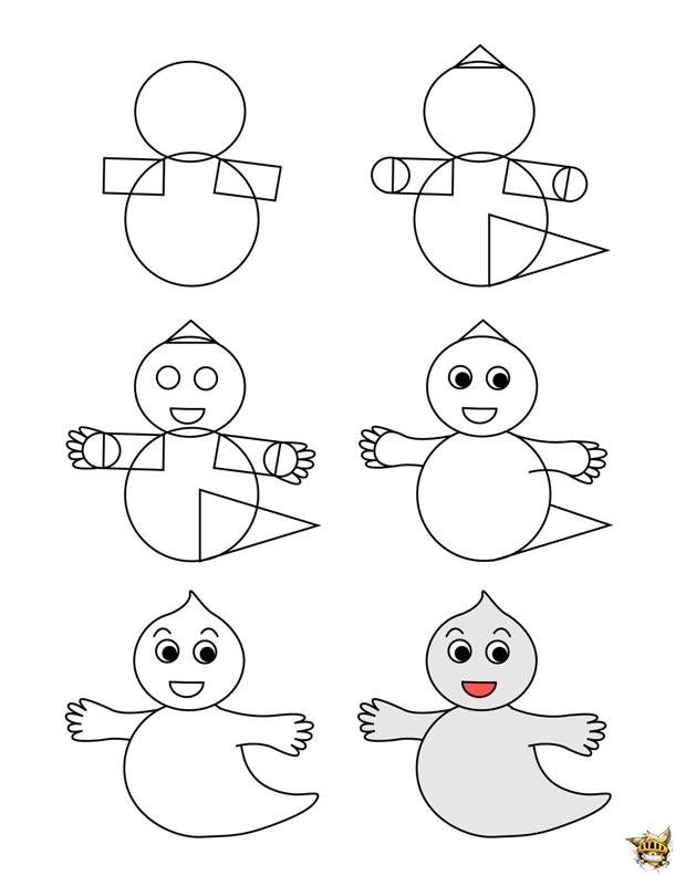 Dessine un fant me est un tuto pour apprende dessiner - Dessiner un fantome ...