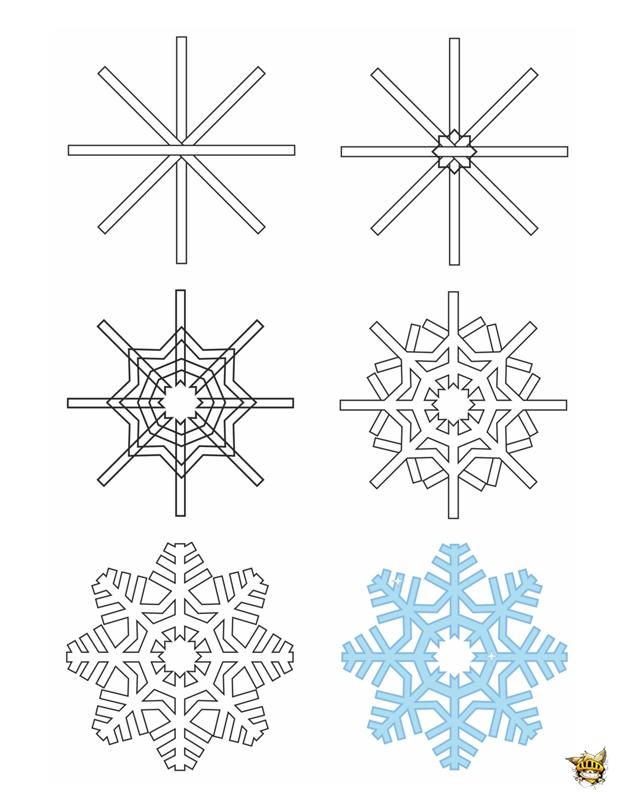 Dessine un flocon est un tuto pour apprendre dessiner - Dessiner un flocon de neige ...