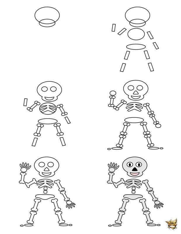 Dessine Un Squelette Est Un Tuto Pour Apprendre A Dessiner