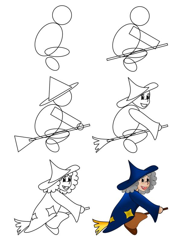 Tuto apprendre a dessiner hz36 jornalagora - Comment dessiner une sorciere facilement ...