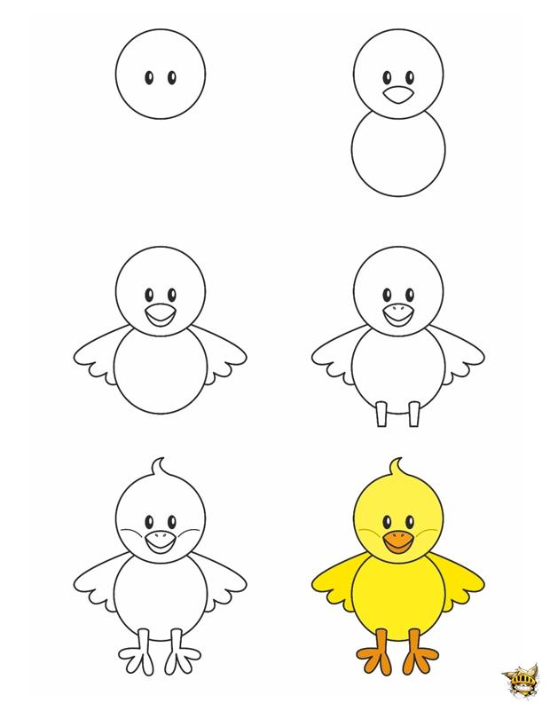 Dessine un poussin est un tuto pour apprendre dessiner - Dessin de poussin ...