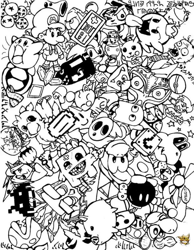 Coloriage Doodle Jeux Videos A Imprimer Pour Adultes