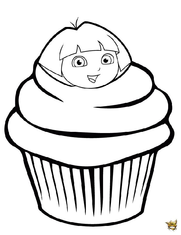 Dora L Exploratrice Cupcake Est Un Coloriage De Cupcake
