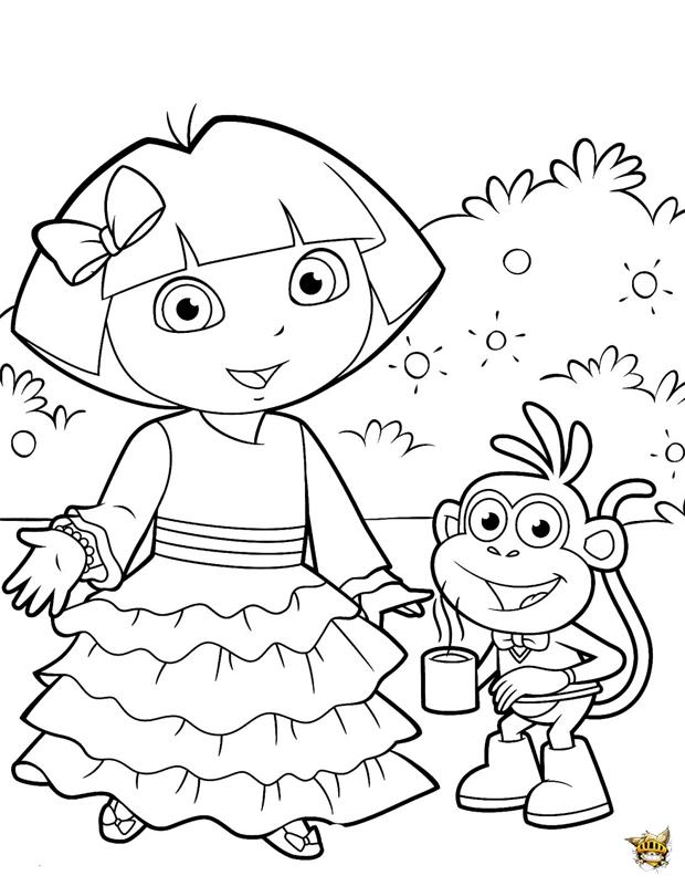 Dora T Invite Est Un Coloriage De Dora L Exploratrice