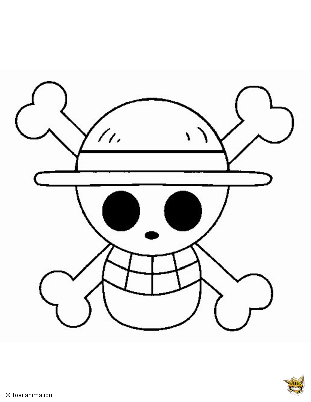 Coloriage du drapeau pirate de monkey d luffy mugiwara - Dessin a imprimer one piece ...