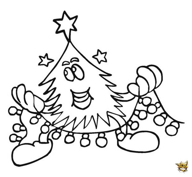 Drôle de sapin est un coloriage de Noel