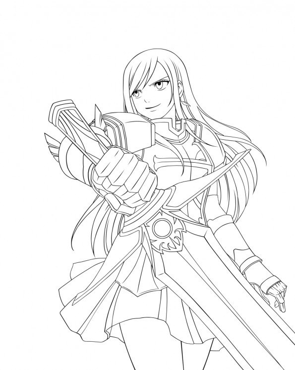 Erza scarlett est un coloriage de fairy tail - Dessin anime de fairy tail ...