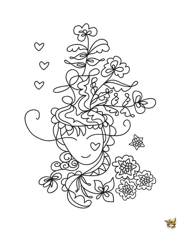 Coloriage Fleur Zen.Coloriage Fille Aux Fleurs Zen Pour Adultes