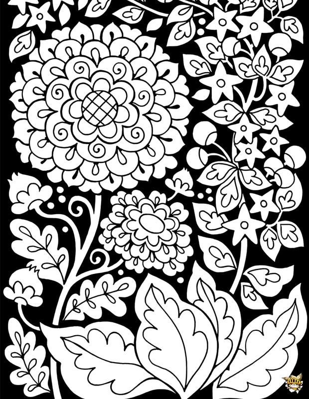 Coloriage Adulte Fond Noir.Coloriage Fleurs Sur Fond Noir Pour Adultes