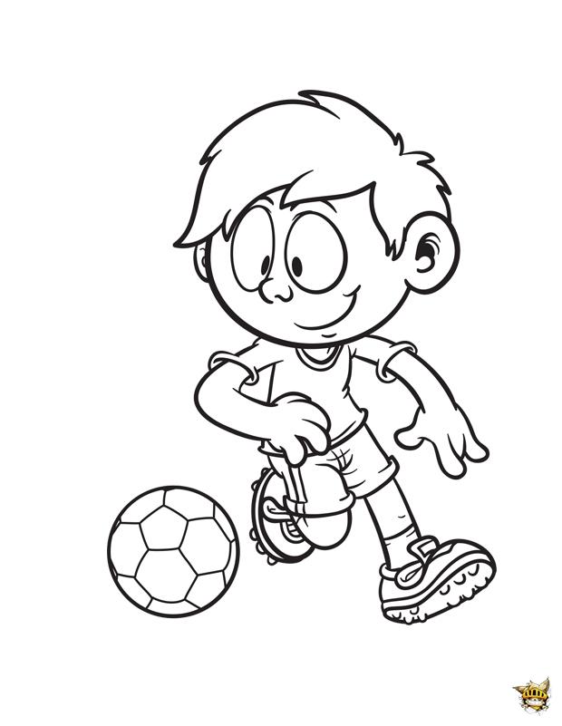 Coloriage petit gar on qui joue au football imprimer - Coloriage de garcon ...