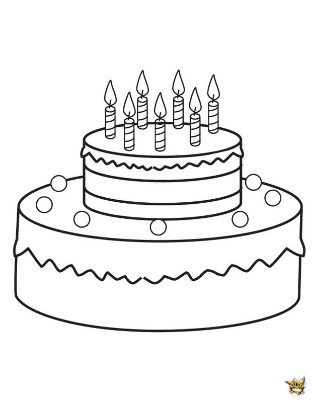 Gâteau d'anniversaire est un coloriage d'anniversaire à ...