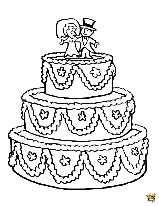 Un gâteau de mariage à colorier et à imprimer
